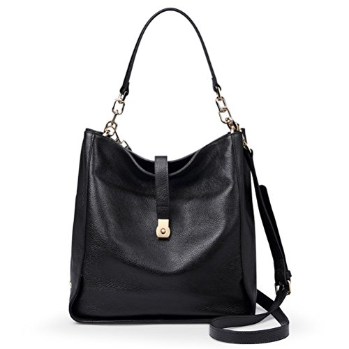 Qiwang Soft Genuine Leather Women HOBO Bag Leather European Shoulder Handbag Bucket Bag Black