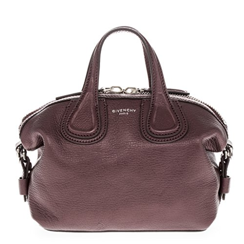 Givenchy Women's Micro Metallic 'Nightingale' Satchel Bag Burgundy