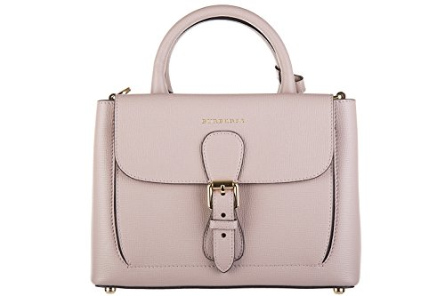 Burberry women's leather handbag shopping bag purse bonded derby pale orchid