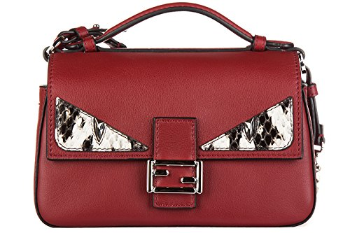 Fendi women's leather shoulder bag original micro baguette occhi red