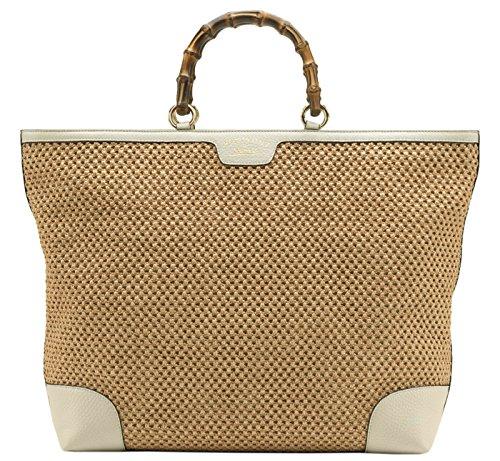 Gucci Beige Bamboo Shopper Handwoven Straw Tote Large Shoulder Bag