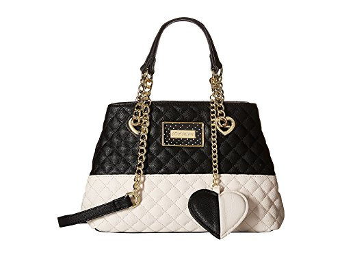 Betsey Johnson Women's Mini Triple Entry Shopper Bone/Black Satchel