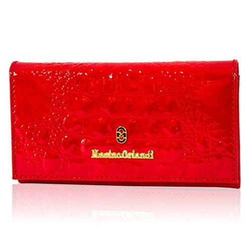 Marino Orlandi Italain Designer Red Alligator Patent Leather Wallet Clutch