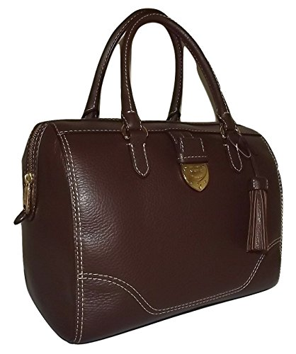 Ralph Lauren Women's Leather Bevington Barrel Satchel Handbag Brown