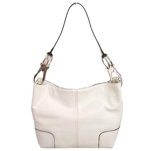 Classic Medium Shoulder Hobo Handbag TOSCA Silver Buckles Italy (Crème White)