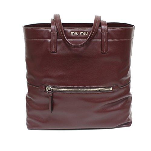 Miu Miu by Prada Soft Leather Shopping Tote Bag, Burgundy Maroon, RR1934