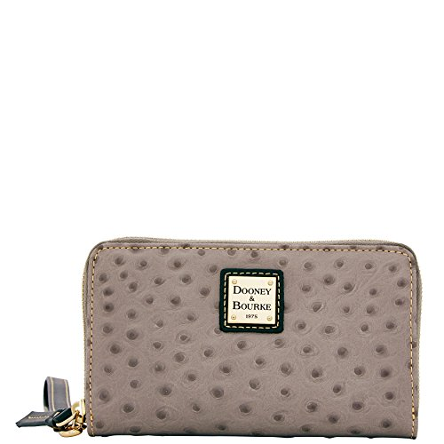 Dooney & Bourke Ostrich Emb Leather Wrsitlet Phone Clutch Wallet