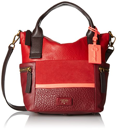 Fossil Emerson Medium Satchel, Red/Multi