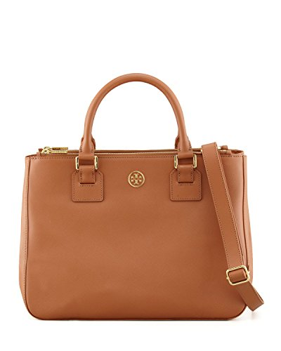 Tory Burch Robinson Large Double Zip Tote In Brown