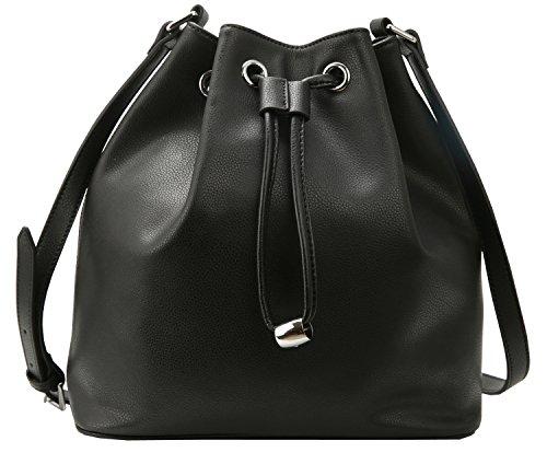 Heshe Women's Leather Handbag Vintage Drawstring Buckets Shoulder Handbags Messenger Bags