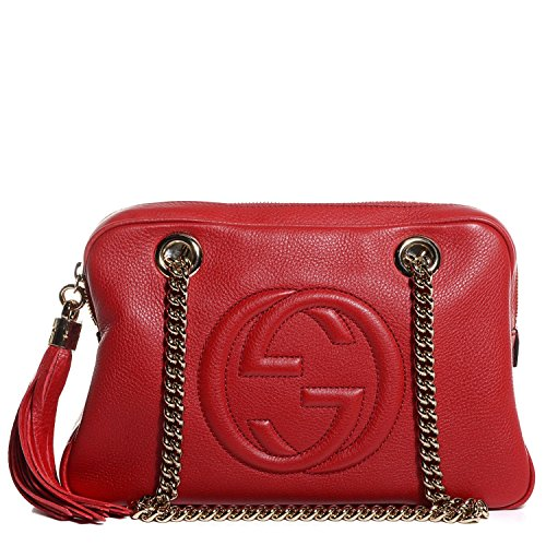 GUCCI Soho Leather Chain Tabasco Red Gold Hardware Small Short Shoulder Bag