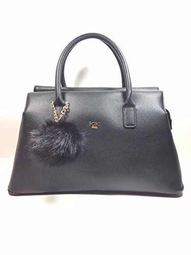 Bcbg Paris Black/Gold Satchel top zipper handbag with Black Pom charm