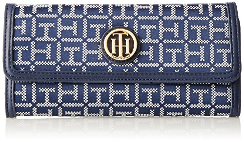 Tommy Hilfiger Women's TH Serif Signature – Large Flap Wallet Navy/White Wallet