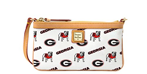 Dooney and Bourke Georgia Bulldogs Large Slim Wristlet – White