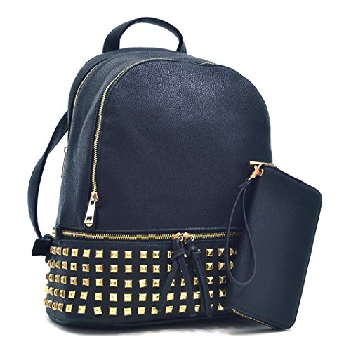MMK collection Women Fashion Studded Backpack (04-6852)~Designer Purse for Women ~Multi Pocket Backpack~ Perfect Women Purse and wallet
