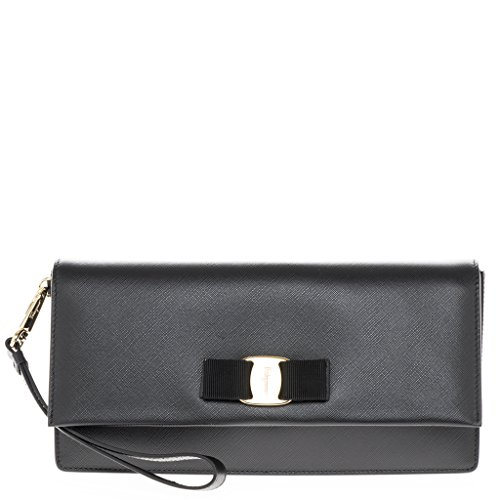 Salvatore Ferragamo Women's Vara Bow Clutch Black