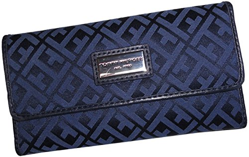 Tommy Hilfiger Continental Checkbook Wallet Navy Blue Multi