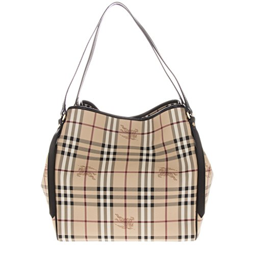 Burberry Women's Medium Haymarket Check Tote Chocolate
