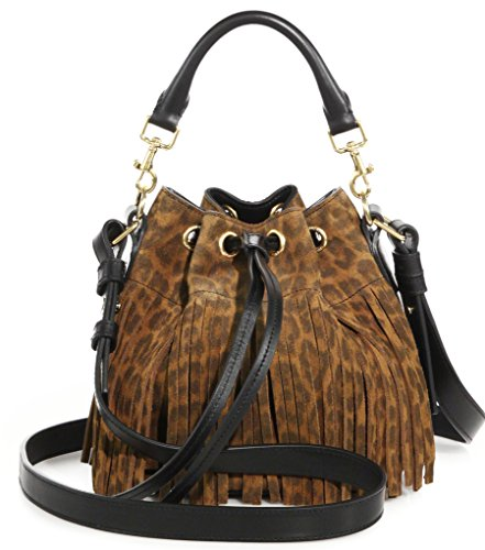 SAINT LAURENT 'YSL' Emmanuelle Fringed Sac Bucket Bag Leopard Suede Leather Shoulder Handbag Purse 372453