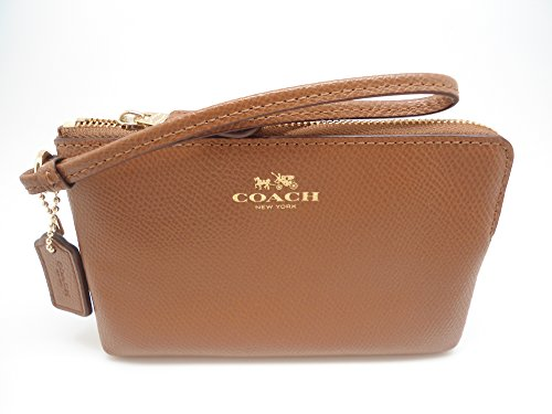 Coach Crossgrain Corner Zip Wristlet Light Gold/Saddle