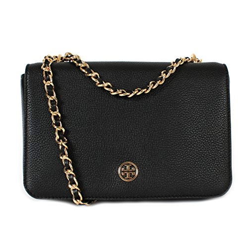 Tory Burch Robinson Logo Pebbled Adjustable Chain Shoulder Bag Black