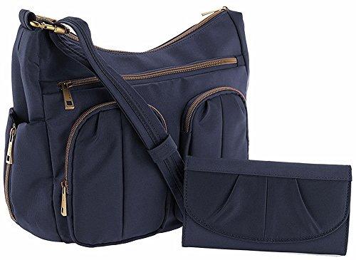 Travelon Anti-Theft Twin Pocket Bucket Bag – Midnight Blue