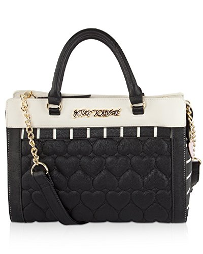 Betsey Johnson Quilted Tote With Pouch (2 Piece set) – Black
