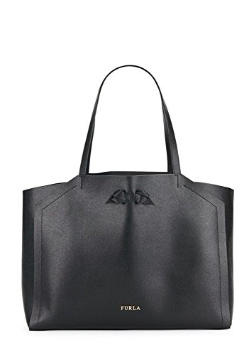 Furla Bow Leather Tote Shoulder Bag, Onyx