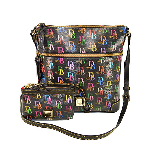 Dooney and Bourke Signature Black Crossbody / wristlet set