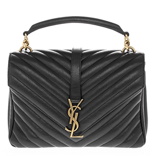 Saint Laurent Women's Medium Monogram 'College' Matelasse Shoulder Bag with Chain Strap Black