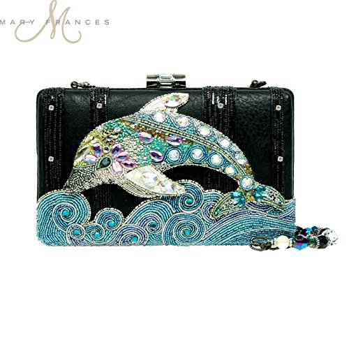 Mary Frances Handbag Splish Splash Dolphin Fish Beaded Jeweled Handbag Shoulder Bag