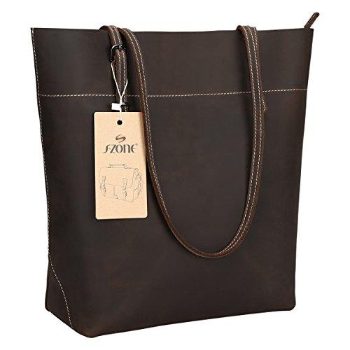 S-ZONE Vintage Crazy Horse Leather Tote Shoulder Bag Handbag Big Large Capacity (Coffee)