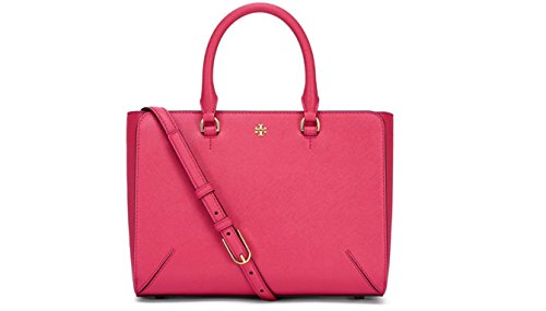 Tory Burch Small Robinson Top Zip Dark Peony Leather Tote