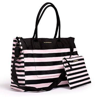 Victoria's Secret Weekend Travel Tote Bag & Cosmetics Bag Pink Stripe