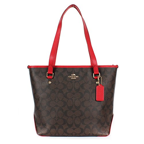 Coach Signature PVC Zip Top Tote F34603 Brown/true Red
