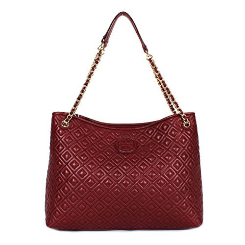 TORY BURCH MARION QUILTED CHAIN SHOULDER SLOUCHY TOTE – RED AGATE