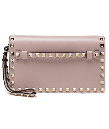 Wiberlux Valentino Women's Rockstud Detailed Real Leather Wristlet Clutch