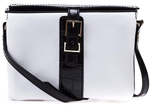 Womens Fashion Designer Handbags Kamela Leather Crossbody Bag White by Isaac Mizrahi Black by Isaac Mizrahi
