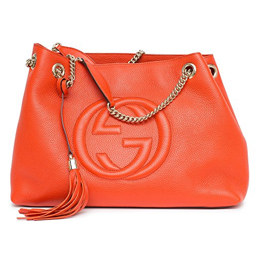 Gucci Soho Leather Shoulder Bag Sun Orange Handbag