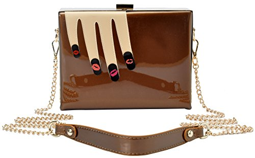 Vendula London Women Designer Handbags Ladies Lips Nail Art Clutch – Brown