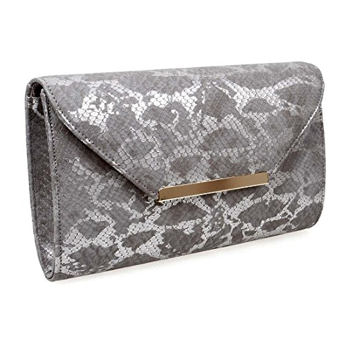 BMC Womens Textured Faux Leather Snakeskin Pattern Shiny Fashion Clutch Handbag