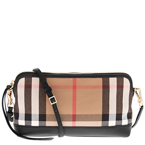 Burberry Women's House Check Derby Leather Small Abingdon Clutch Bag Black