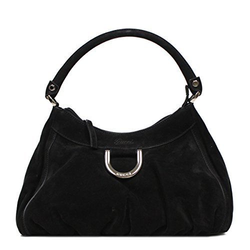 GUCCI Abbey D Ring Hobo Black Suede Shoulder Bag 265692
