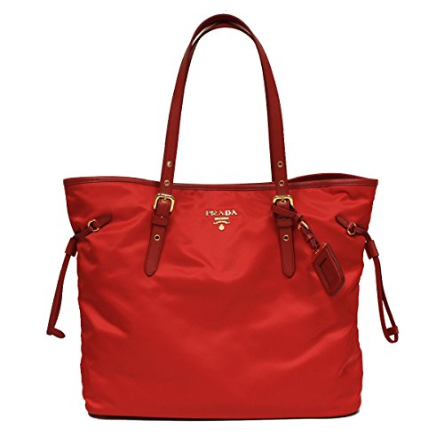 Prada BR4997 Tessuto Saffian Shopping Tote Bag Large Rosso Red Shoulder Handbag Purse