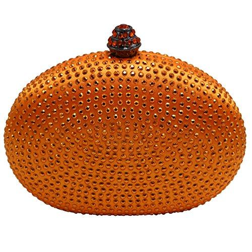 Doree Small Rhinestone Crystal Evening Handbags Orange