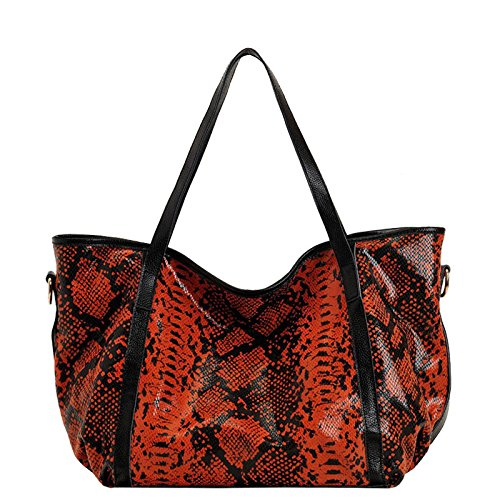 ILISHOP Women's Europe Style Leopard Print Genuine Leather Soft Purse Tote Hobo Cross Body Shoulder Bag Handbag (Orange)