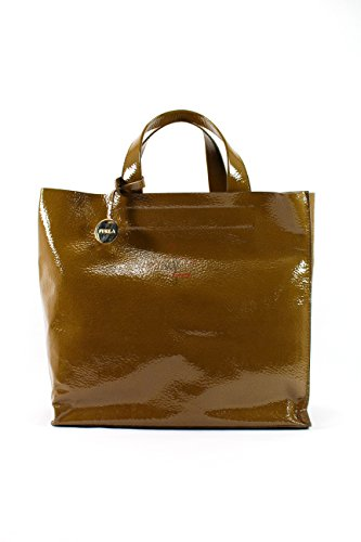 Furla Womens Tote Brown Patent Leather