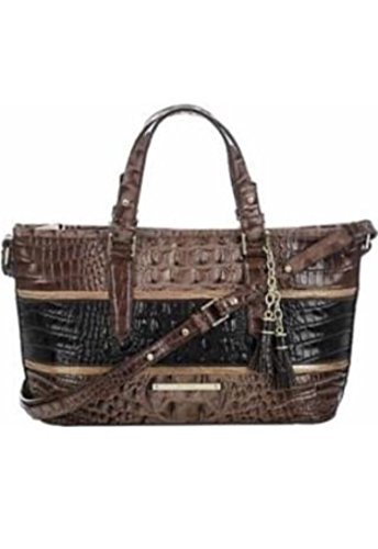 Brahmin Mini Asher Leather Shoulder Bag Tri Color Nutmeg Brown