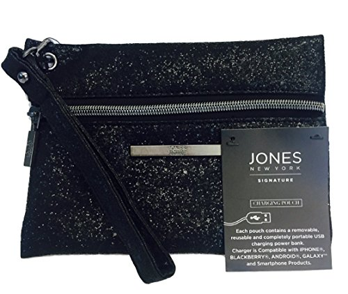 Jones New York Signature Black Sequin Charging Wristlet