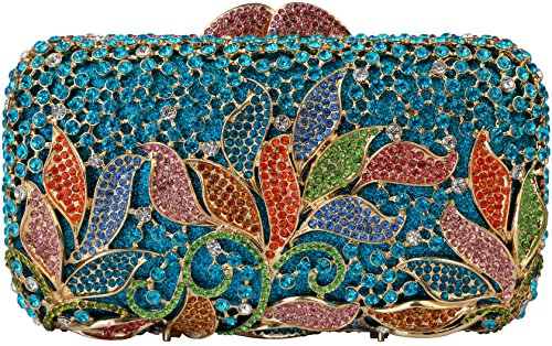 Yilongsheng Women New Rhinestones Flower Clutch Bags For Wedding L-5719 (Blue Multicolor)